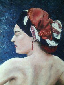 Femme au turban Huile sur toile 46x38 cm
