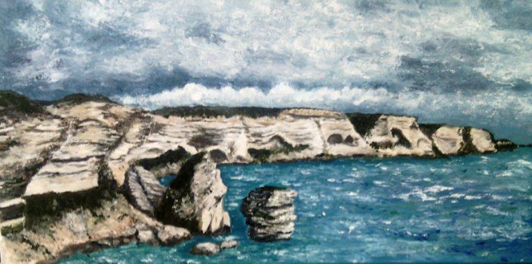 Les falaises de Bonifacio - Huile sur toile 30 x 60 cm