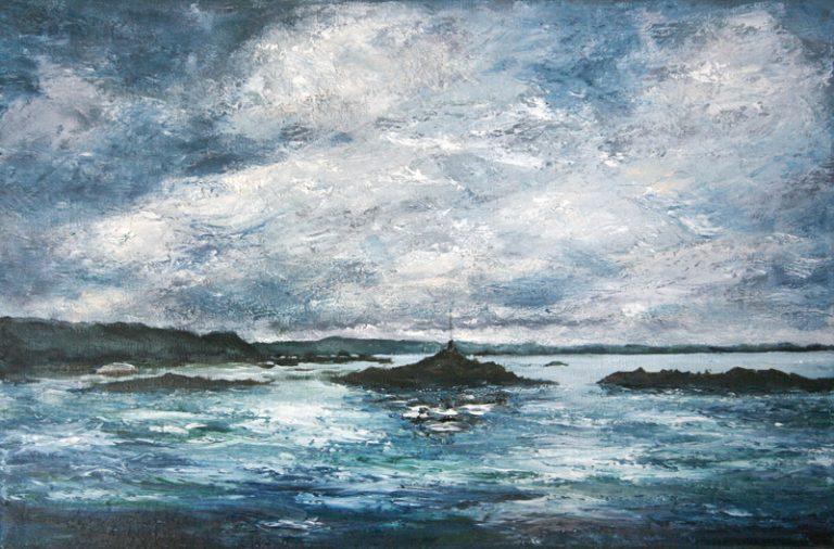 L'estran - Bréhat - Huile sur toile 41 x 27 cm