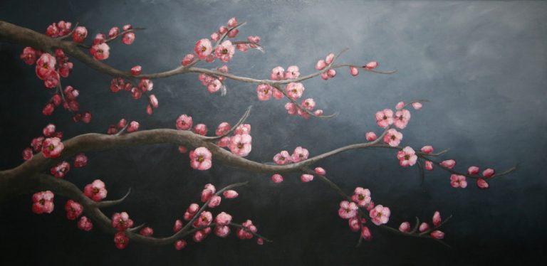 Sakura Huile sur toile 100x50cm