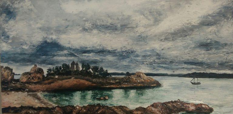 La plage du Guerzido - Huile sur toile 30 x 60 cm